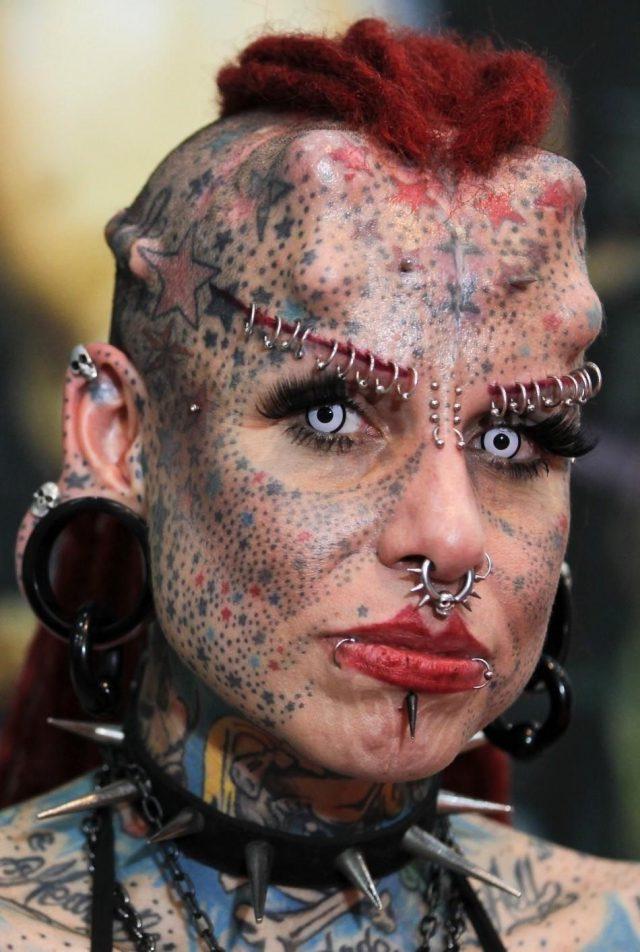 Extreme vampire face tattoo