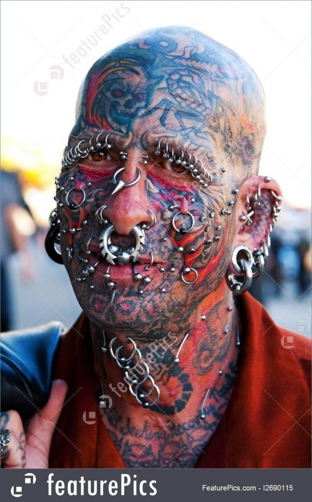 Face with tattoos stock image 1690115