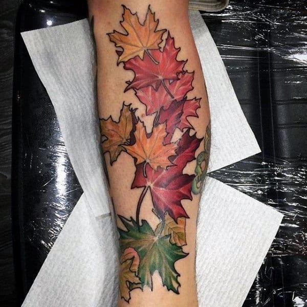 Fall maple leaf mens leg tatoto ideas