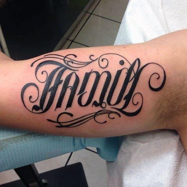 Family ambigram tattoo for men on bicep
