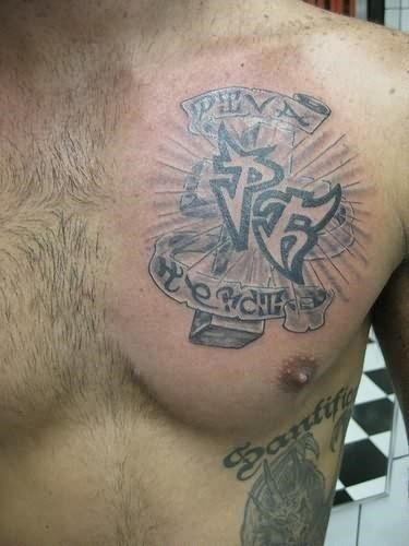 Family cross tattoo on chest