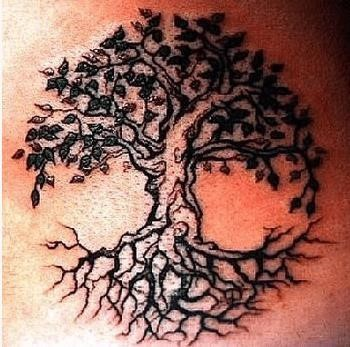 Family tree tattoo with roots