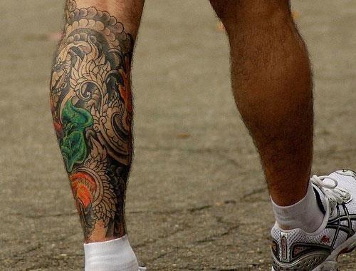 Fancy design leg tattoo for men