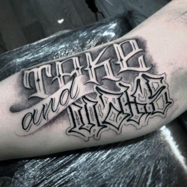 Fantastic grey and black lettering tattoo mens forearms