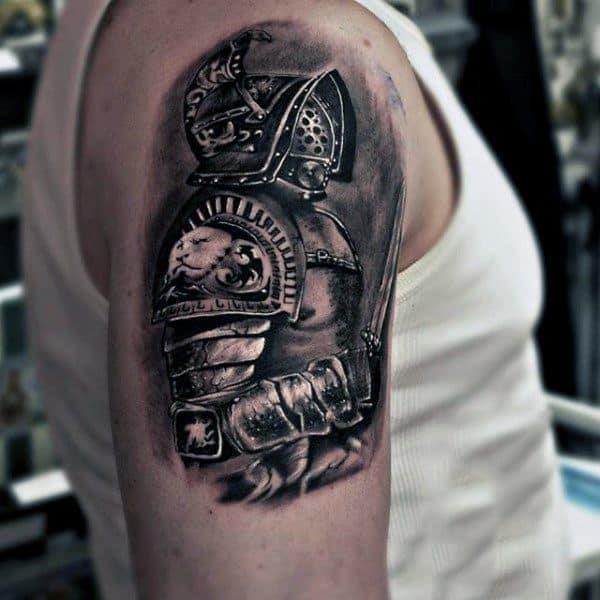 Fantastic grey warrior tattoo male arms