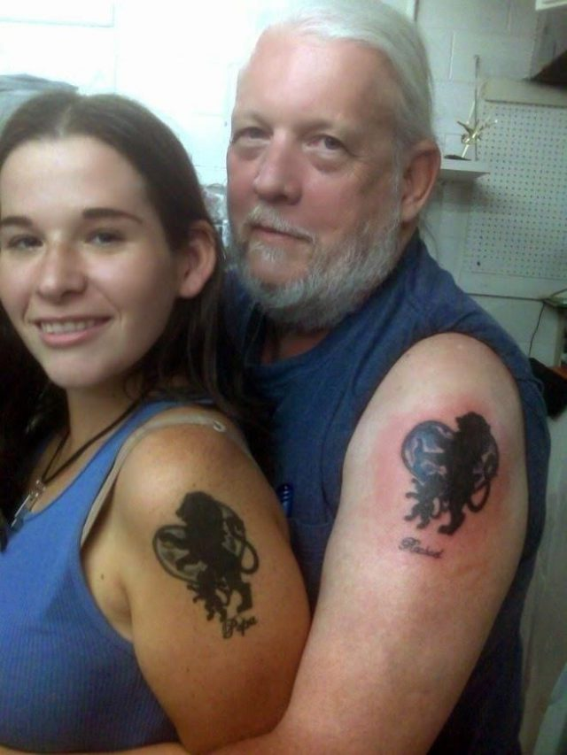 Father daughter tattoo ideas lion