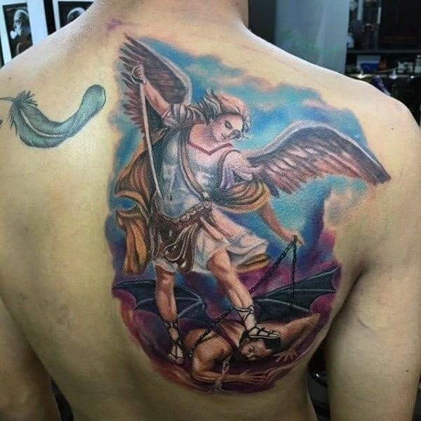 Feather and winged God religious tattoo mens back