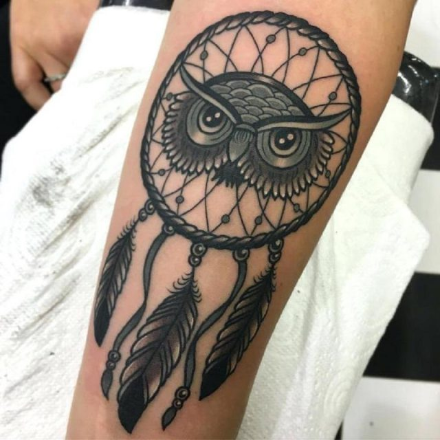 Fierce dreamcatcher owl tattoo