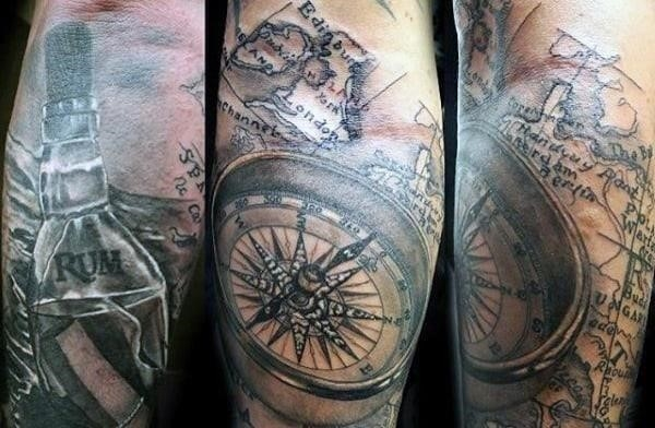 Floating bottle at sea mens world map tattoos