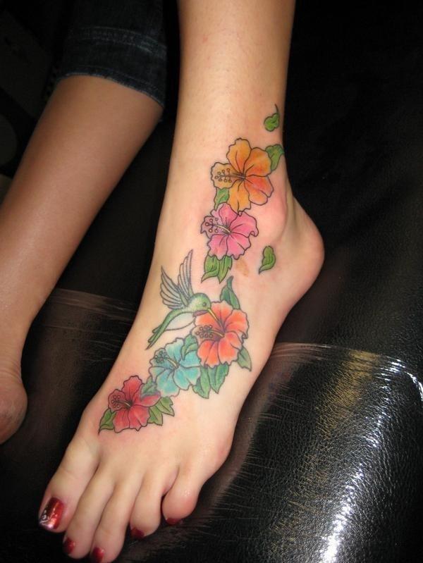 Flower tattoos on ribs