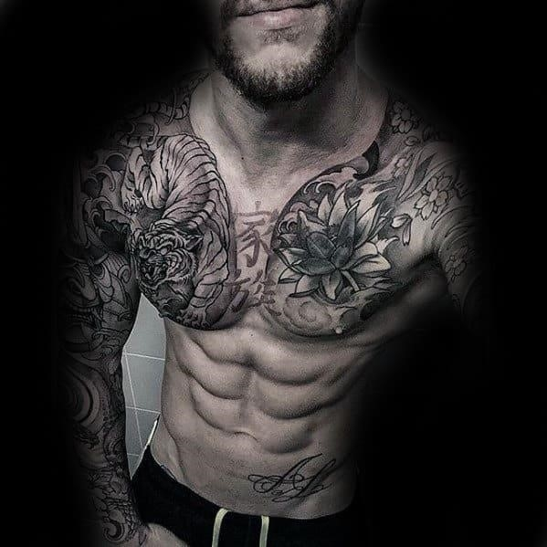 Flower tiger japanese male chest tattoo designs