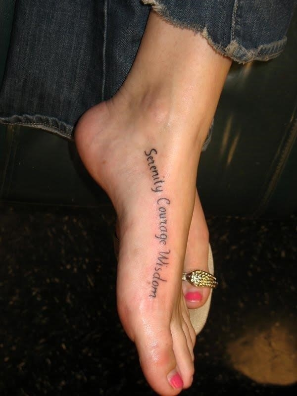 Foot tattoo words