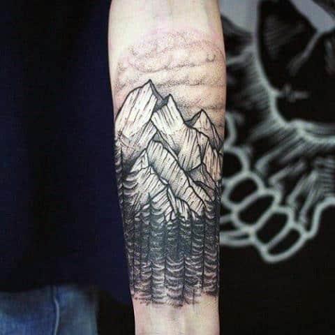 Forearm mens holy white mountain tattoo