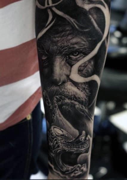 Forearm mens viking dragon tattoo