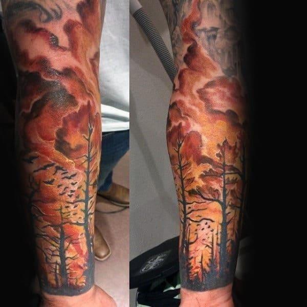 Forest fire guys full arm sleeve tattoo design ideas