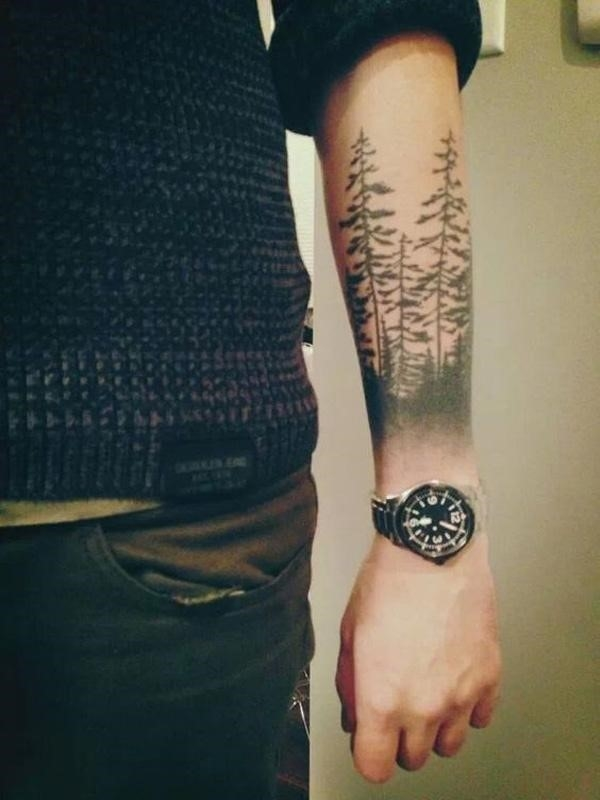 Forest forearm tattoo 7