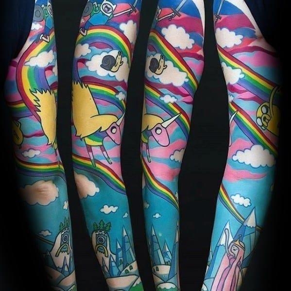 Full arm sleeve adventure time guys tattoos