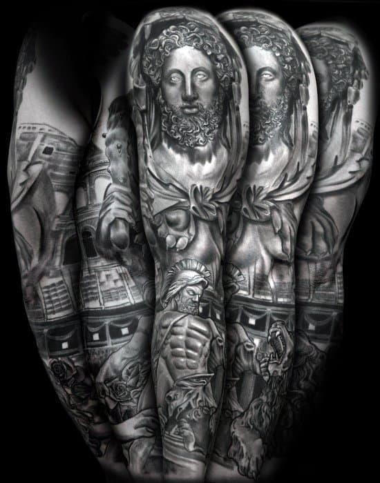 Full arm sleeve roman statue tattoo design ideas for male