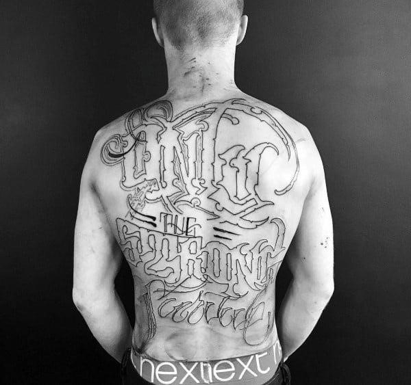 Full back only the strong survive mens script tattoo designs