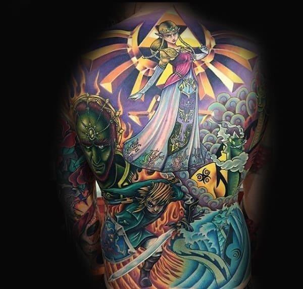 Full back zelda themed designs for male tattoos