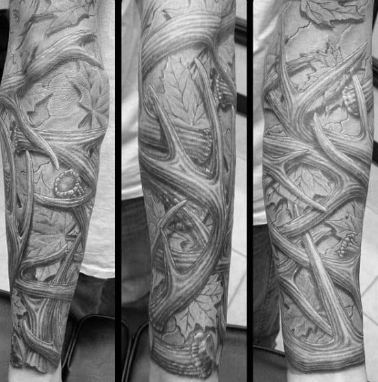 Full sleeve antler tattoos for guys