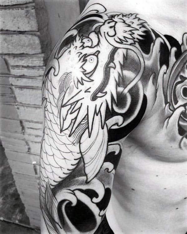 Gentleman with black ink japanese dragon half sleeve tattoo