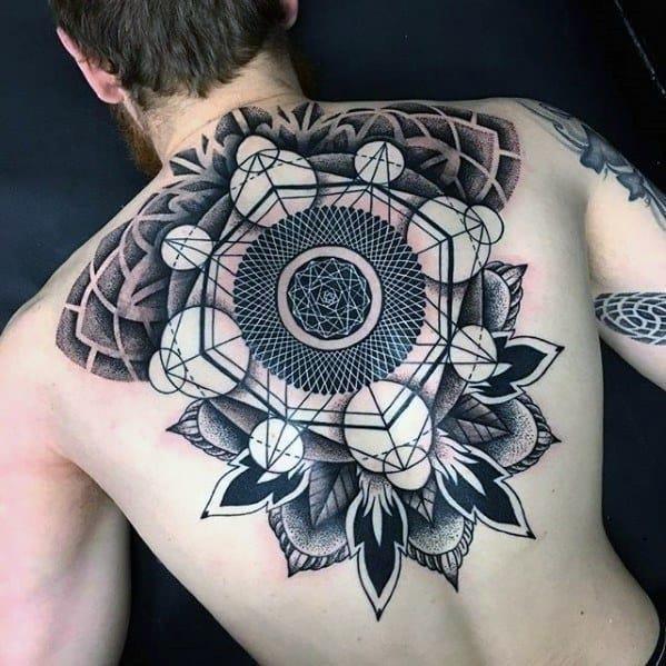 Geometric back tattoo designs for guys