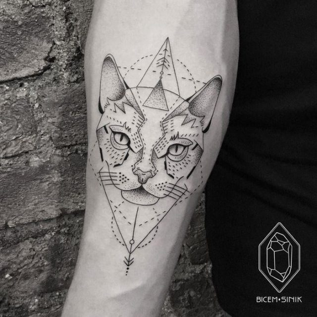 Geometric tattoo geometric cat tattoo by bicem sinik