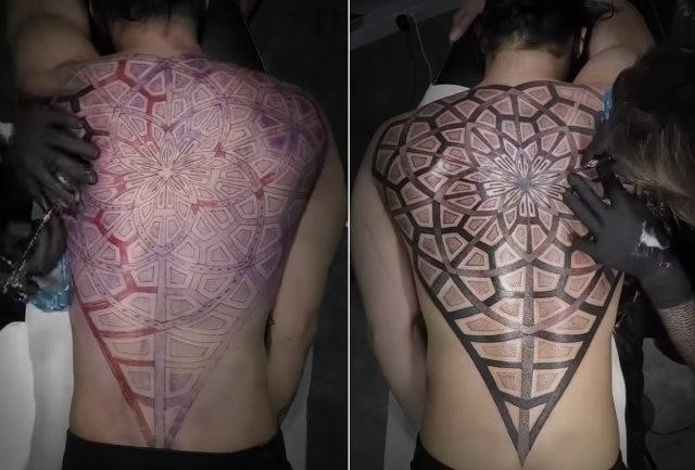 Geometric tattoo timelapse
