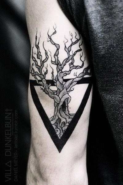 Geometric tree triceps tattoo