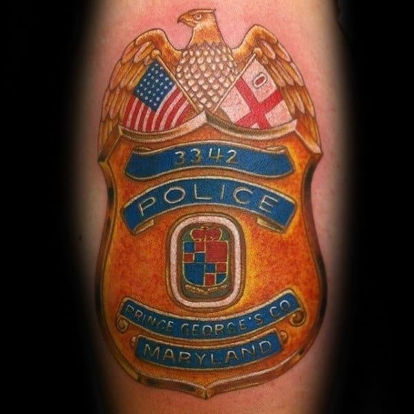 Gold police badge mens arm tattoo ideas