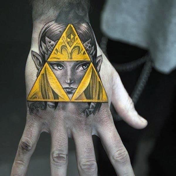 Golden legend of zelda triforce male hand tattoo designs