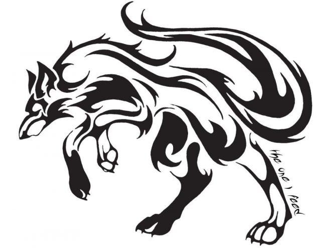 Great black tribal wolf tattoo design