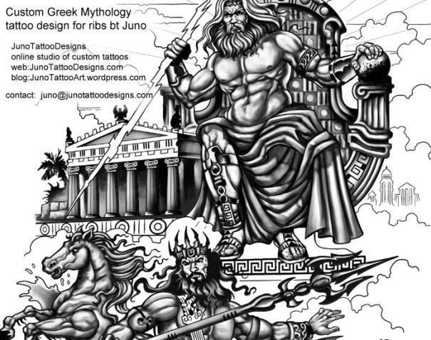 Greek mythology tattoo by juno custom zeus and poseidon tattoo for ribs1