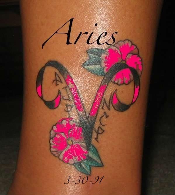 Grey flowers and memorial aries zodiac tattoo