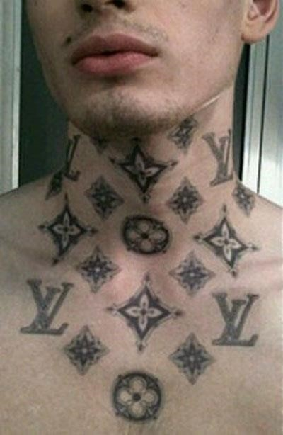 Grey ink flowers neck tattoo for guys