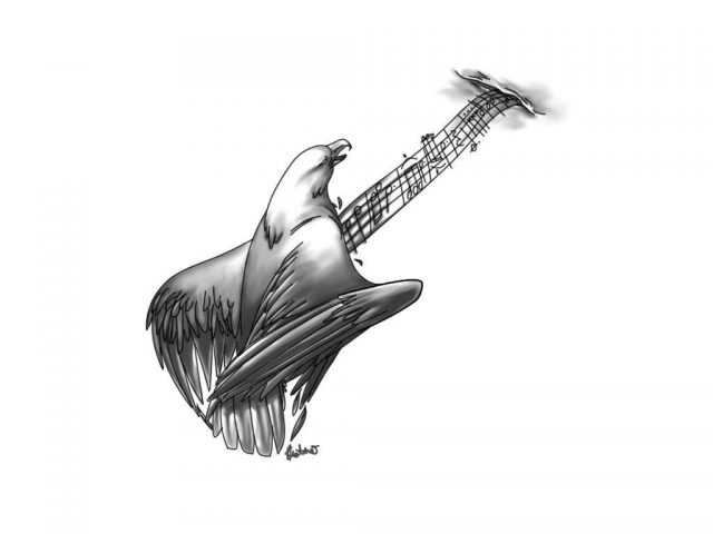 Grey ink guitar tattoo design
