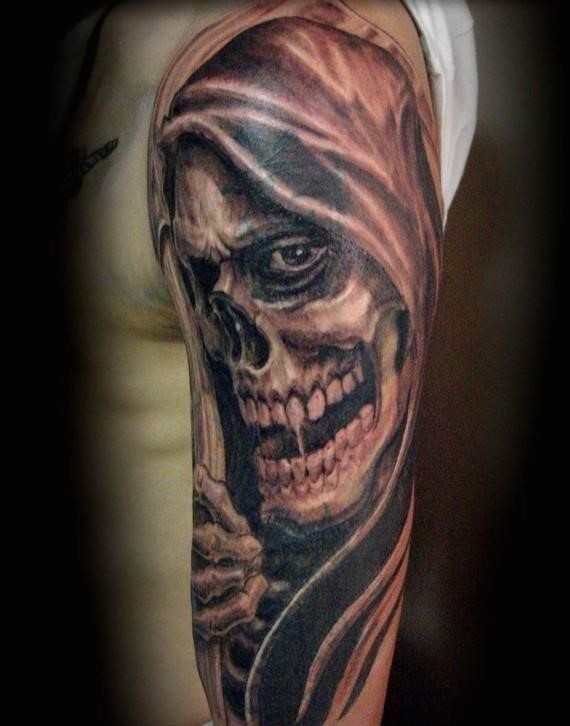 Grim reaper face tattoo for men