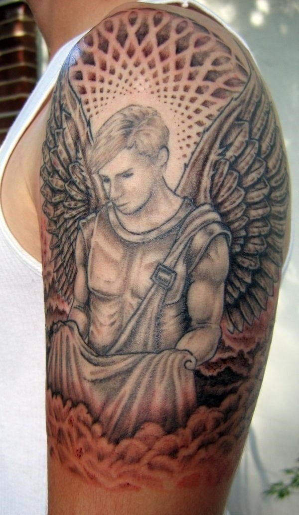 Guardian angel with baby tattoo for men