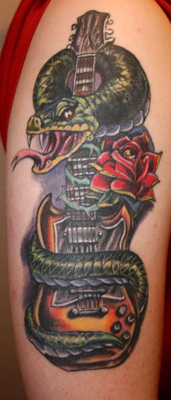 Guitar snake rose tattoo