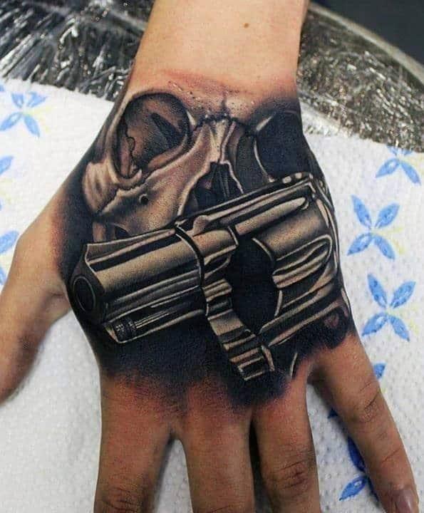 Gun hand tattoos for for men