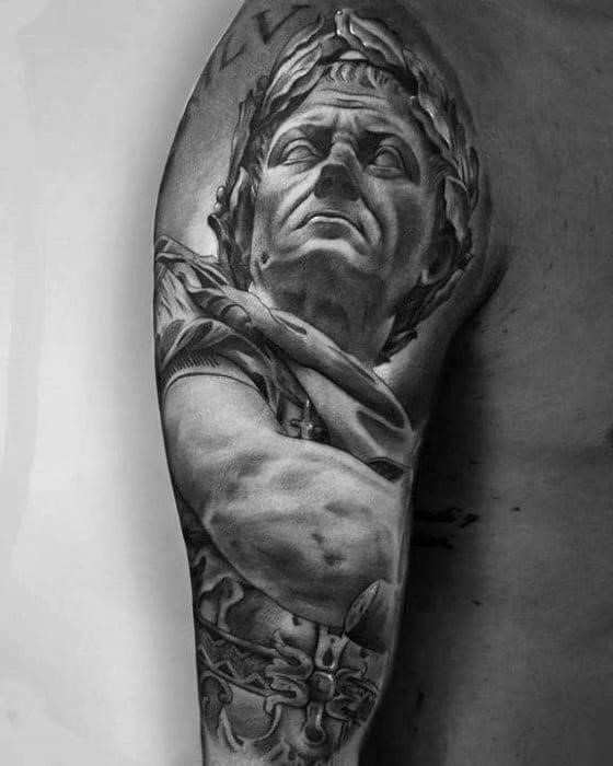 Guy with roman statue tattoo half sleeve design
