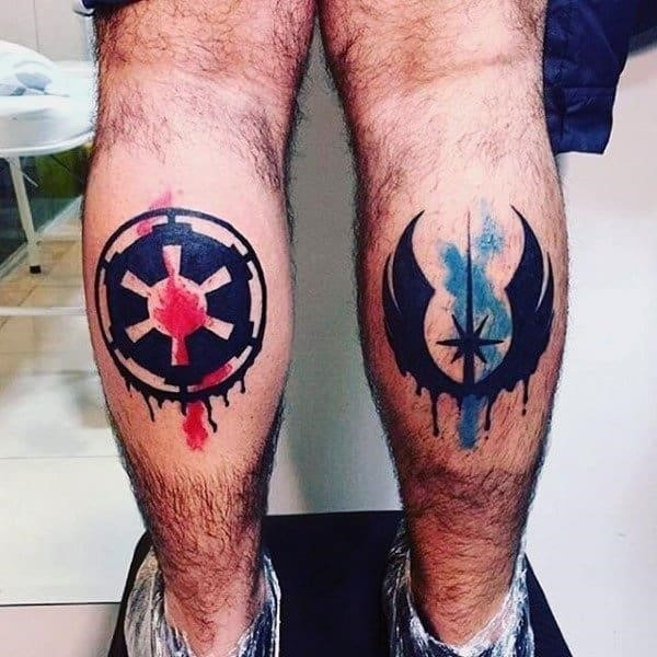 Guys ankles star war symbols tattoo