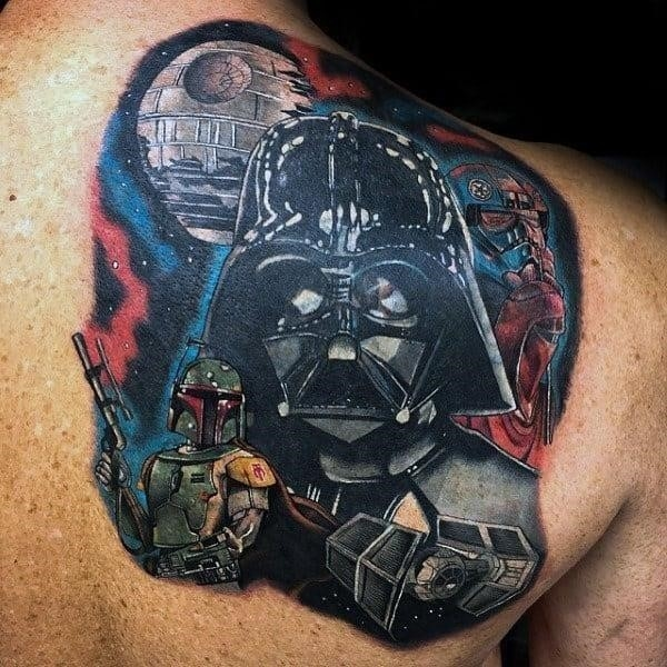 Guys back star wars tattoo