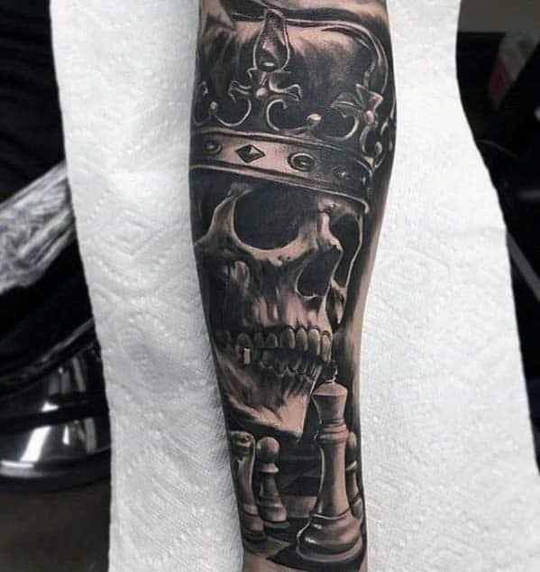 Guys badass skull with crown and chess peices mens 3d forearm tattoo