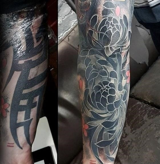 Guys flower black and grey ink tattoo cover up sleeves