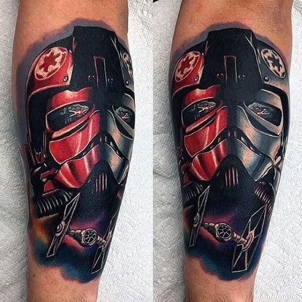 Guys forearms red grey star wars tattoo