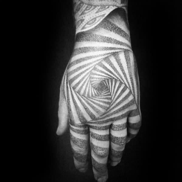 Guys geometric optical illusion spiral 3d hand tattoo design ideas