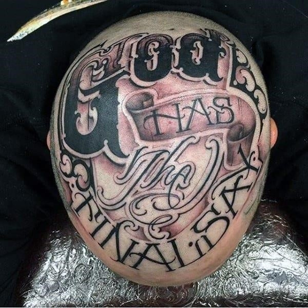 Guys head lettering tattoo
