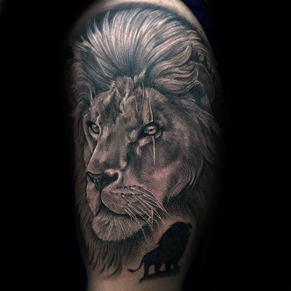 Guys lion themed half sleeve tattoo designs